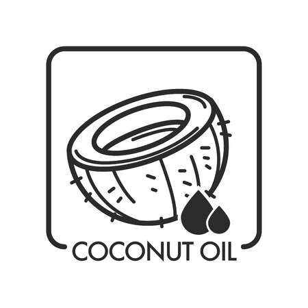 Coconut oil, product and drop, monochrome sketch outline vector. Icon of spa salon, tropical ingredient used in cosmetology and medicine, cooking desserts and skin treatment. Health improvement