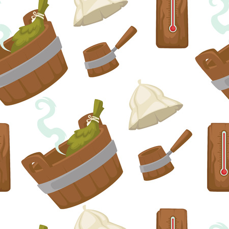 Sauna with wooden bucket and leaves seamless pattern vector. Healthcare and relaxing method used by nordic people. Swedish and Russian tradition of warming up and cooling, public bath therapy Vektorové ilustrace