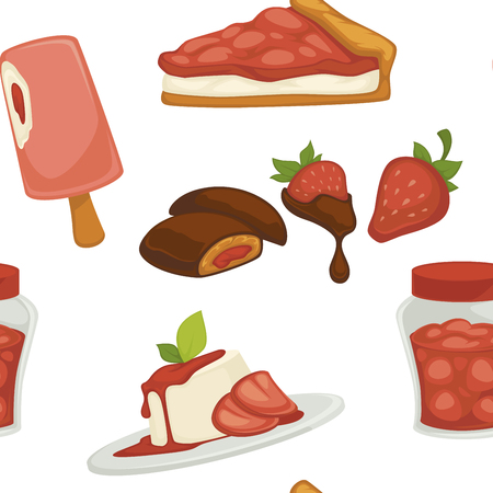 Sweets and cakes, strawberry with chocolate, plate with dessert seamless pattern isolated on white background vector. Frozen ice cream on steak, jam canned in jar, cocoa ingredients in meal food