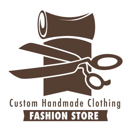 Custom handmade clothing fashion store logo, banner sketch with a roll of fabric, material and scissors, flat concept vector illustration on white background