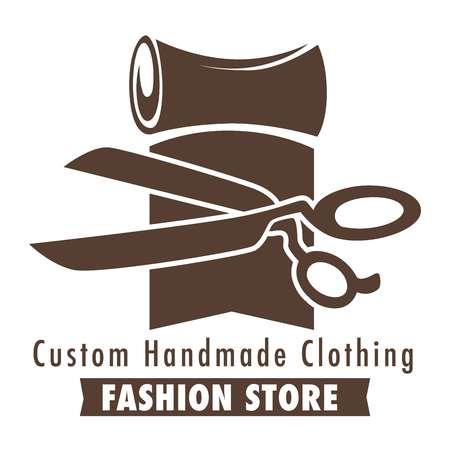 Logo del negozio di moda di abbigliamento fatto a mano personalizzato, schizzo di banner con un rotolo di tessuto, materiale e forbici, illustrazione vettoriale di concetto piatto su sfondo bianco Logo