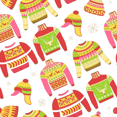 Knitted sweaters and warm winter hat seamless pattern