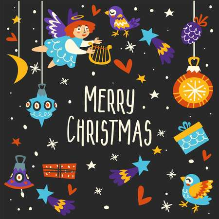 Merry Christmas winter holidays, symbols and icons sings