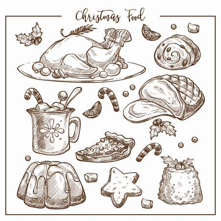 Christmas traditional dinner menu vector sketch illustration set of dishes. Winter restaurant and cafe design elements template. Xmas desserts and drinks, cookies jelly, gingerbread and fried turkey chiken.