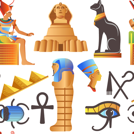 Egypt and Egyptian mythological signs seamless pattern isolated background vector. Standard-Bild - 112093947