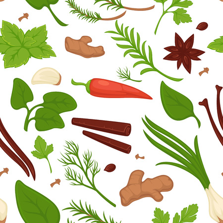 Dill and parsley, greenery and herbs seamless pattern vector. Fresh products and vegetables, plants and leaves of natural organic flora. Onion and cinnamon. ginger and carrots, cooking veggies Vettoriali