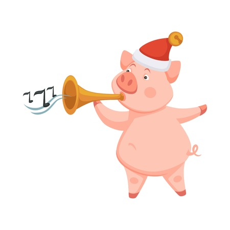 Pig symbol of 2019 approaching new year playing on trumpet Vector Illustration