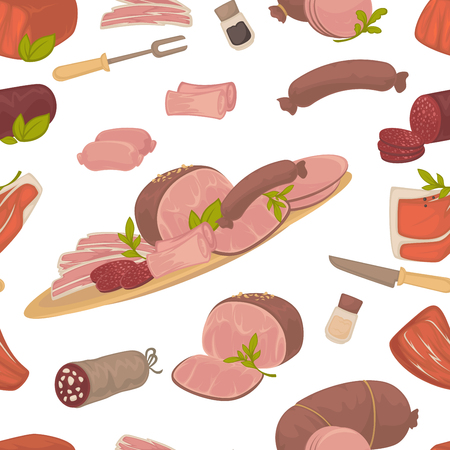 Meat food, steak and sausages with spice in glass bottles vector. Seamless pattern isolated on white background, meal rich in proteins, sirloin butchery department products. Knife and fork cutlery  イラスト・ベクター素材