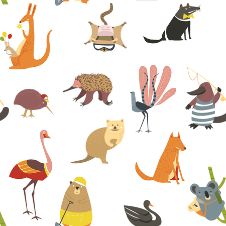 Exotic animals, koala with baby sitting on bamboo branch seamless pattern isolated on white. Fox and wolf wildlife mammals with fur, flamingo and bear vector. Black swan bird and kangaroo with balloons Çizim