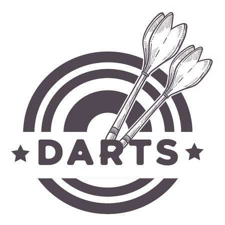 Darts game, two missiles, throwers on a circular dartboard close up sketch banner design, monochrome flat concept vector illustration with text on white background