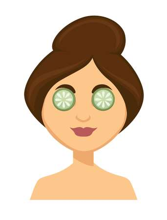 Young smiling dark haired woman with slices of cucumber on eyes, beauty routine themed cartoon, flat concept vector illustration, white background Çizim