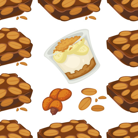 Peanut dishes of food or drinks and desserts seamless pattern.