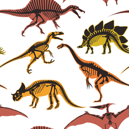 Dinosaurs and pterodactyl types of animals seamless pattern isolated on white background vector. Stock Photo