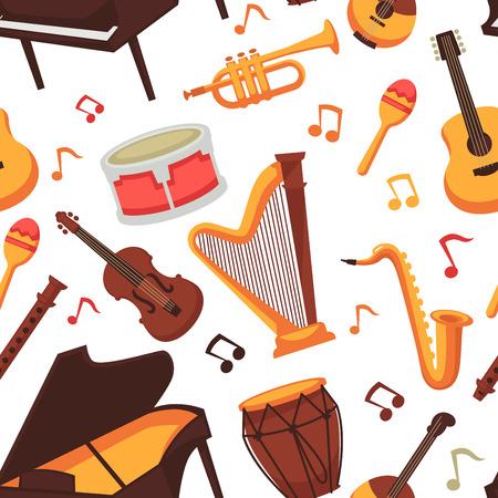 Instrumentos musicales iconos planos de patrones sin fisuras. Vector aislado