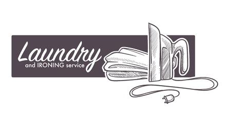 Wäsche- und Bügelservice-Logo, Bannerskizze mit Bügeleisen-Applia