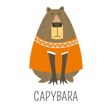 Capybara Hydrochoerinae family representative, mammal wearing knitted sweater decorated with ornaments vector. Animal originating from Sough America, natural wildlife, cute character in clothes