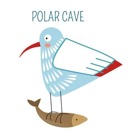 Polar cave, bird flying away with fish in claws vector. Seagull caught food to eat, wildlife in antarctic region, birdie with long wings and feathers. Skua nordic type of animals, winter season Иллюстрация