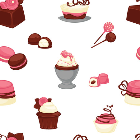 Bakery and cakes baked culinary products seamless pattern vector. Chocolate ingredients and topping, lollipop and cakes, candies with stuffing vanilla flour. Strawberry taste sweet food dessert