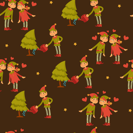 Elf male and female children in love, Santa Claus helpers vector. Seamless pattern of Christmas characters, little leprechauns, dwarfs wearing funny hats. Present boxes house chores for girl with broom