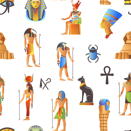 Egypt and Egyptian mythological signs seamless pattern isolated background vector. Ilustrace