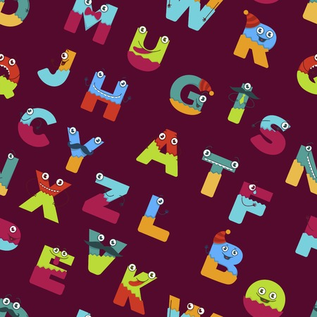Funny alphabet of cartoon characters for kids design seamless pattern. Vector font letters of comic monster creature faces with eyes, mouth smile and mustaches in uppercase Illustration