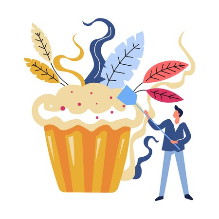 Man with spatula, professional chef baking big cake dessert vector. Male working, cuisine in restaurant, delicious food serving. Cake lunchtime, whipped cream and berries, bakery shop, floral decor