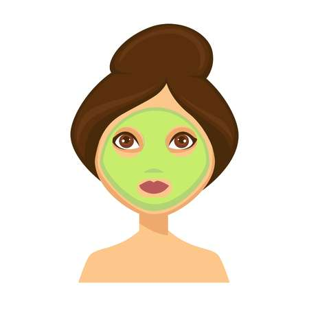 Young dark haired woman with face mask applied on her skin and her hair up, beauty routine themed cartoon, flat concept vector illustration on white background