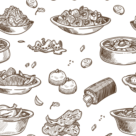 Korean cuisine traditional dishes sketch seamless pattern. Vector set of samgyetang chicken with sannakji and kimchi cabbage, spicy ramen noodles soup or bulgogi and kimpab with pastry for Korea restaurant