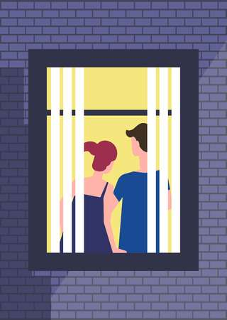 Couple spending night at apartment, window view from outdoors Illustration
