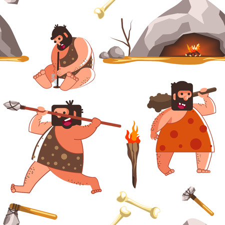 Primaeval people living in caves and wearing animal fur vector. Primitive tribe trying to survive, men using handmade tools and devices to catch animal. Torch and flame, male trying to make bonfire Banco de Imagens - 127509009