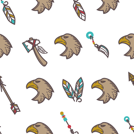 Native American Indians traditional culture symbols pattern background.