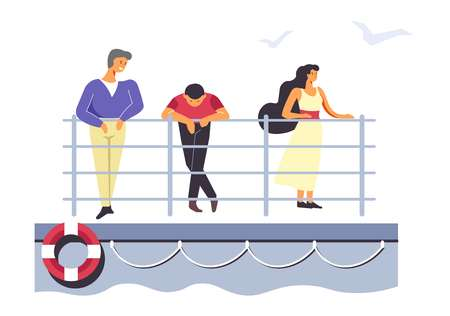 Passengers on ferry or liner, people traveling by sea means vector. Transportation of travelers standing on board. Man and woman looking in distance, saving ring lifebuoy hanging on side of ship Ilustração