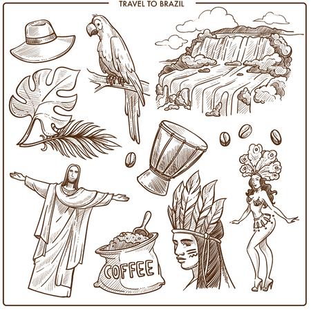 Brazil travel landmarks and famous tourism symbols sketch. Vecto
