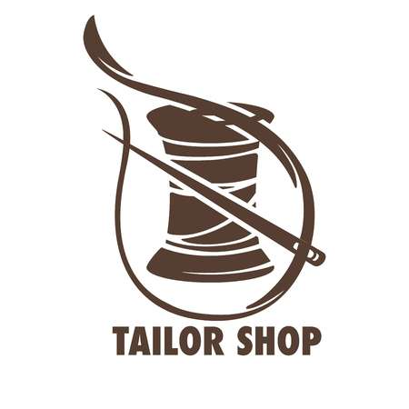 Tailor shop sketch with a needle and bobbin of thread