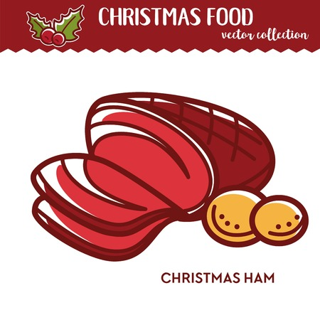 Christmas ham and potato festive food and culinary cuisine for holiday party baked meat slices nutrition and feast cooking beef delicious meal for Xmas holiday celebration cartoon vector illustration  イラスト・ベクター素材