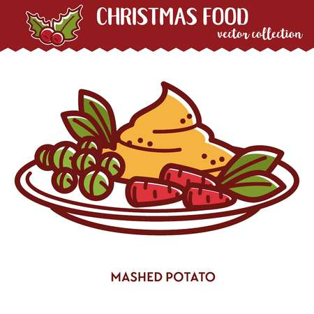 Christmas food festive cuisine mashed potato with peas and carrots boiled soft potato as garnish for winter holiday dinner celebration party dish vegetarian meal on plate cartoon vector illustration Ilustração