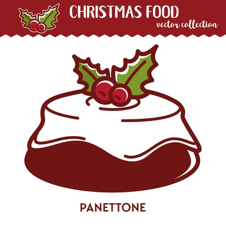 Christmas food panettone festive dessert with glaze and berries winter holiday recipe bakery product and pastry icing and cranberry baked dough and cream confectionery meal vector illustration