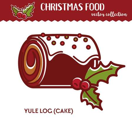 Christmas food yule log festive dessert with glaze and berries winter holiday cake recipe roll bakery product and pastry icing and sprinkles cranberry and cream confectionery vector illustration