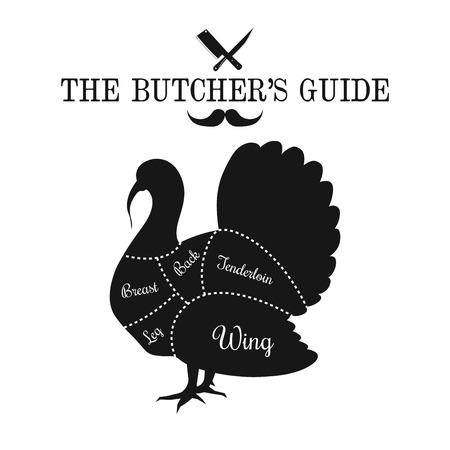 Poultry meat cut lines diagram on the outline of a turkey, butcher shop, market poster design, graphic black and white flat vector illustration Illustration