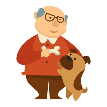 Smiling grandpa, owner giving a bone to his jumping small cute brown dog, puppy, colorful cartoon, flat concept vector illustration on white background