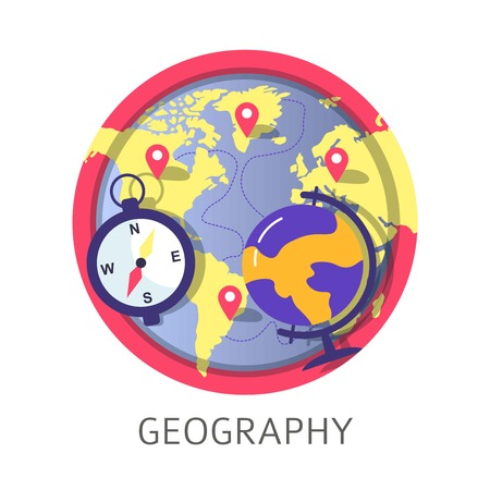 Geography discipline at school university or college classes vector map of world and atlas with location marks points trajectory of discovery path compass with lines scale north sough and west east Ilustração