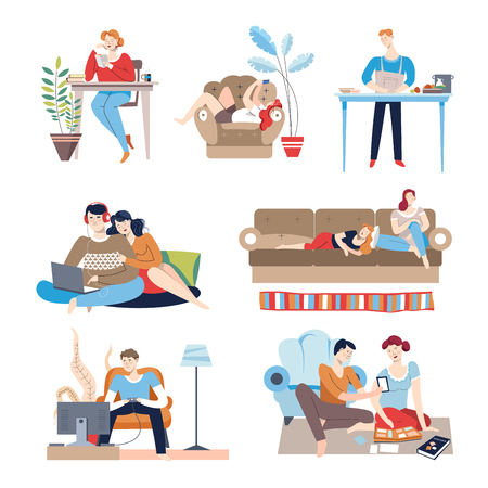 Weekends at home people with passive lifestyle relaxing at house vector couple watching film on laptop man cooking student doing homework girl listening to music friends lying newlywed looking at photos