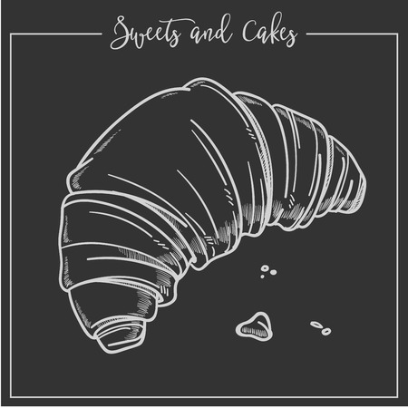 Sweets and cakes croissant made according to French recipe vector buttery filling of baked product french baked products organic ingredients of buttered meal monochrome sketch outline isolated