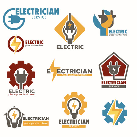 Electrician service and electric sockets with bulbs logos set 免版税图像 - 112511329