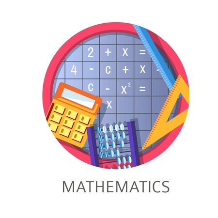 Mathematics discipline in school and university obtaining knowledge in college vector algebra and geometry calculator to calculate and numbers pen and rule for drawing geometric forms and shapes