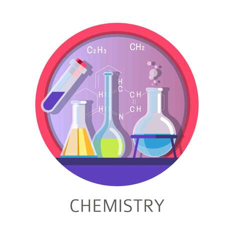 Chemistry discipline and lessons in school university college vector laboratory experiments and discoveries tubes with dangerous substances formulas and chemical processes in glass containers