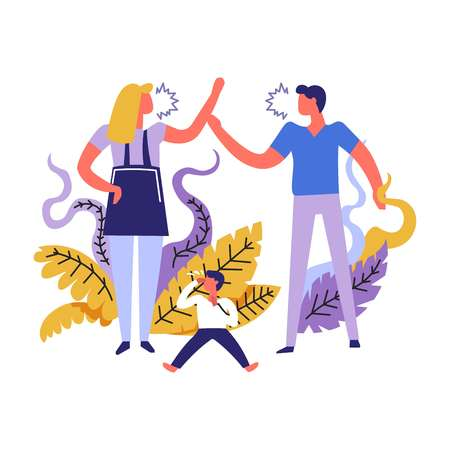 Family problems people shouting one on another fight and disputes vector unhappy married couple having troubles crisis of pair kid suffering from home screams and violence of mother and father 向量圖像