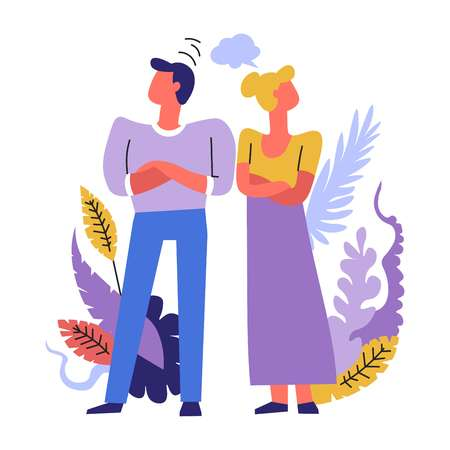 Man and woman having problems in married life together vector people dont want to talk to each other fight and crisis disputes and proud behavior offenses and angry couple flowers decoration