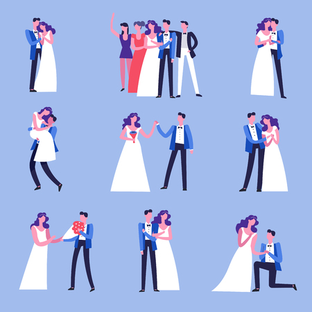 Wedding celebration ceremony of marriage with guests and couple vector happy newlywed pair with best men and bridesmaid man giving bouquet of flowers to woman carrying and dancing making proposal