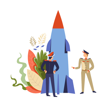 People in army rocket missile commander and soldier talking about weaponry vector men wearing uniform camouflage serving and defending country sergeant armed forces foliage leaves plants decor Foto de archivo - 127420919